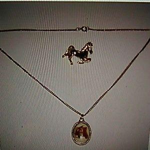 Horse Pendant Necklace Vtg Horse Broach